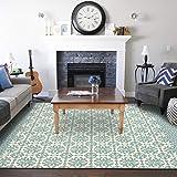 SHACOS Alfombra de Algodón Lavable Alfombras Salon Grandes 120x180 cm Alfombras de Habitacion Verde Vintage para Comedór, Salón, Dormitorio