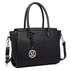 Idea Regalo - Miss Lulu Borsa donna alla moda Borsa a mano grande Borsa a tracolla elegante borsa messenger (nero)