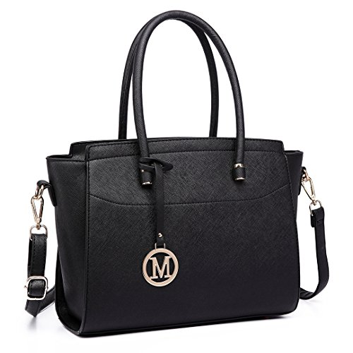 Miss Lulu Borsa donna alla moda Borsa a mano grande Borsa a tracolla elegante borsa messenger (nero)