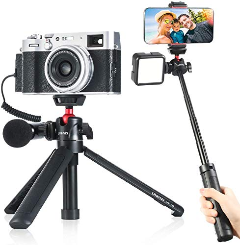 MT-16 Selfie Stick Treppiede,Testa Treppiede Fotocamera, Treppiede Smartphone con Testa Panoramica per iPhone12,iPhon11 Samsung Galaxy Huawei e Sony a7 Sony ZV1 Canon EOS, Nikon Fujifilm XT 3 GoPro9