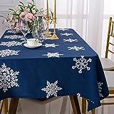 Manteles De AlgodóN Y Lino Mantel Rectangular Estampado Copo De Nieve Mantel Absorbente Y Antideslizante 140 X 180 Cm (Rojo / Azul)