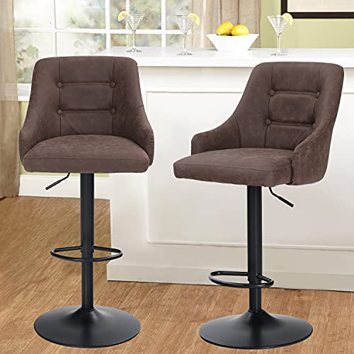 MAISON ARTS Swivel Adjustable Bar Stools with Back Set of 2 for Kitchen Counter Padded Counter Height Faux Leather Bar Chairs with Heavy Duty Base for Pub Cafe Dining, 300LBS Weight Capacity, Brown