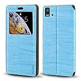 BQ Aquaris E5 Case, Wood Grain Leather Case with Card