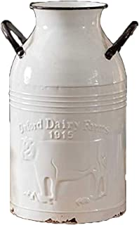 Large Distressed White Oxford Dairy Farms Milk Can 14