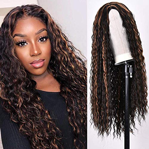 RunM Long Curly Black Ombre Brown Wig for Black Women Kinky Curly Hair Wig Natural Heat Resistant Synthetic Curly Wigs 26 Inch (2/30)