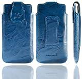 Suncase Original Tasche für Emporia PURE Leder Etui Handytasche Ledertasche Schutzhülle Hülle Hülle in wash-blau