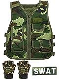 SATINIOR Kids Army Camouflage Combat Vest Adjustable Kids Tactical Vest with Children Half Finger Fingerless Short Gloves Mitten Breathable Waistcoat Children Camouflage Outdoor Costume