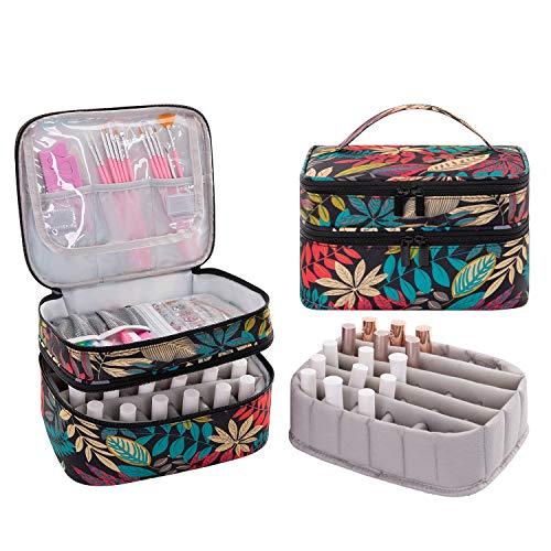 AFUOWER Bolsa organizadora de esmalte de uñas con asas, bolsa de almacenamiento portátil para manicura – Capacidad para 30 botellas...