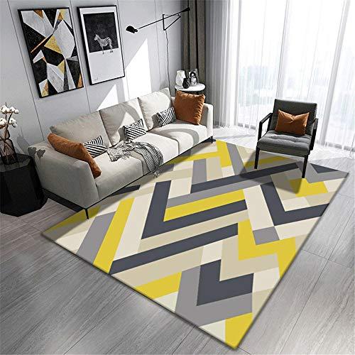 La alfombras Decoraciones para Habitaciones Alfombra Duradera, Suave, Gris, Amarilla, Negra a Rayas Antideslizante para alfombras Decoracion Mesa Salon 80*150CM