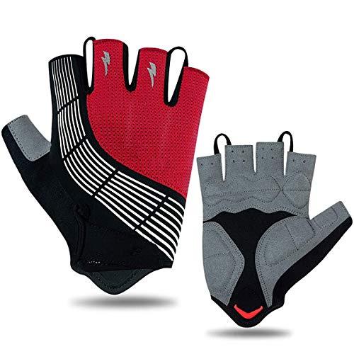 BRAZT Cycling Gloves, Men Women Half Finger Mountain Road Bike Gloves, Breathable Fingerless Gloves for Outdoor Gym Sports,Red,L