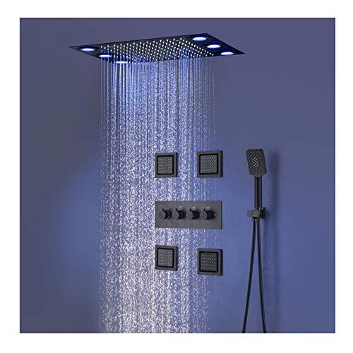 Termostática Sistema de Ducha LED Conjunto de Ducha Negro Columna de Ducha con 36cm*50cm Alcachofa de Ducha, Alcachofa de Mano, Chorros de Masaje