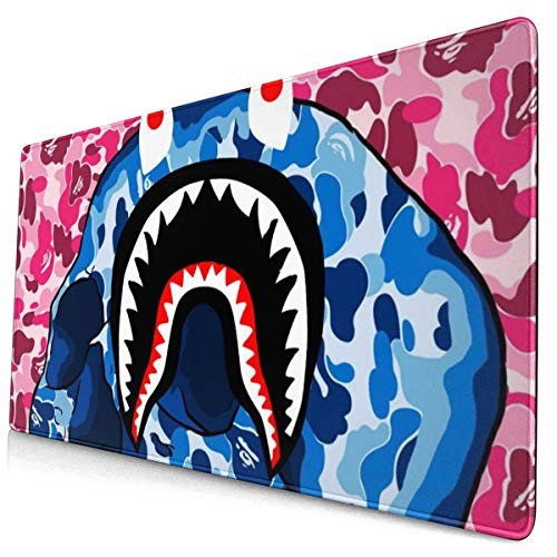 NiYoung Gaming Mouse Mat Mouse Mat Large Skull Shark Teeth Camo Pink and Blue Mousepad Mat Anti-Slip Rubber Backing Waterproof Mouse Pad for Laptop Work Professional for Gaming and Office