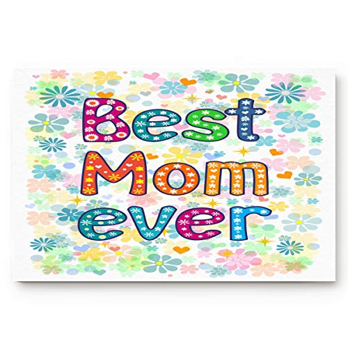 Hommou - Zerbino extra resistente, 40,6 x 61 cm, con scritta 'Best Mom Ever with Fresh Flower'