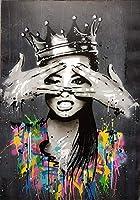 キャンバス塗装 ぶら下げ画 図ウォールアートグラフィティホームデコレーション抽象女性の写真Banskyアートポップポスター、版画絵画の油絵の肖像画の写真キャンバス (Color : Picture 3, Size (Inch) : 50X70cm No Frame)
