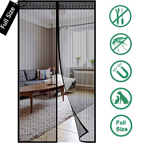 XXYANZI Magnetisches Moskitonetz Fenster 90x215cm, Insektenschutz Magnetvorhang Magnetische Adsorption Mückenschutz Tur, für Kinderzimmer, Terrassentür, Schiebetür - Schwarz