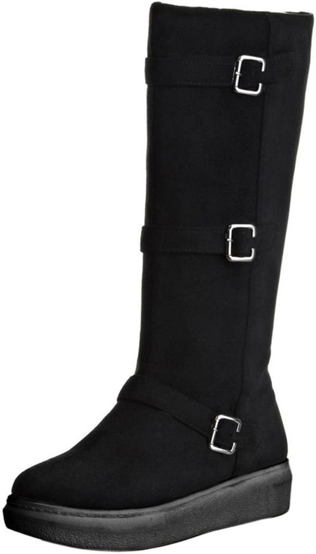FANIMILA Women Fashion Flats Tall Boots with zipper