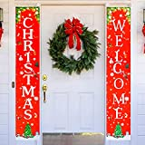 ziidoo Merry Christmas Banner, Red Xmas Porch Sign Hanging for Home Wall, New Year Xmas Winter Party Supplies, Christmas Decorations for Indoor & Outdoor Decoration