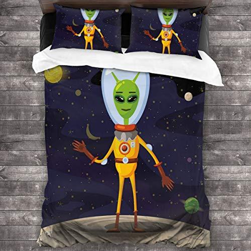 BEITUOLA Juego de Funda nórdica,Dibujos animados OVNI de criatura divertida en traje espacial de pie sobre la luna y el telón de fondo del espacio,1 Funda de Edredón y 2 Fundas de Almohada 200 x 200cm