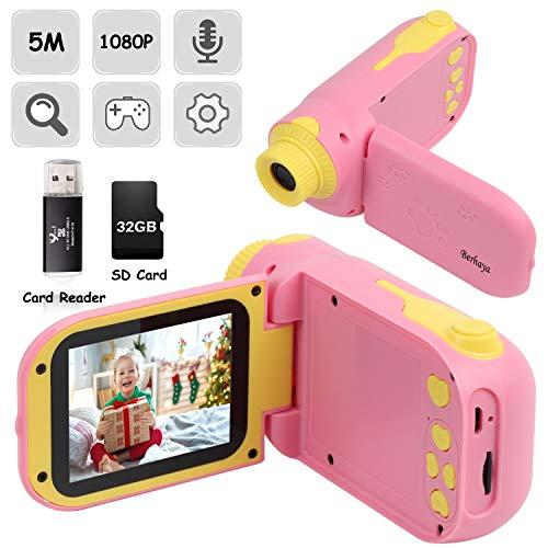 Kinderkamera, Digitale Kinderkamera mit 1080P HD 32G Speicherkarte 2,4-Zoll-HD-Bildschirm, wiederaufladbare 12MP Kinderspielzeugkamera als Geburtstagsgeschenk für 2-7 Jahre alte Jungen und Mädchen