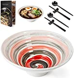 Ramen Bowl Set with Recipe Book - 2 Sets (9 Pieces) of 62oz Ceramic Bowls with Spoons and Chopsticks...