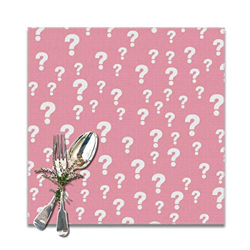 Houity Roze Vraag Mark Wasbaar Zacht Voor Keuken Diner Tafel MatPlacemat, Makkelijk Te Reinig Handige Opvouwbare Opslag Placemat 12x12 Inch Set Van 6