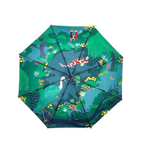 Y-S Faltbare Regenschirme Regenschirm Kreative Tägliche Notwendigkeiten Kleine Schwarze Regenschirm Tintenfisch Teich DREI Falten Schwarz Kunststoff Sonnenschutz Uv Regen Sonnenschirm