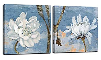 Anolyfi Flowers Wall Art Canvas White Lotus Pictures Modern Water Lily Painting Retro Blue Grey Artwork Prints Framed for Bathroom Bedroom Living Room Kitchen Home Office Wall Decor 14 x14  x2 Panels