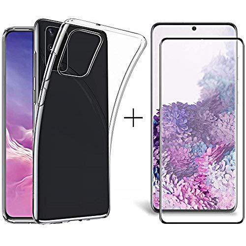 R&Lstore Cover per Samsung Galaxy S20 Custodia in TPU Tasparente + Pellicola Vetro Temperato 9h ultraresistente 5D