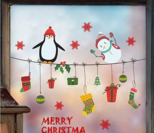 Joyeux Noël Heureux Pingouin Bonhomme De Neige Stickers Muraux Salon Décoration Accessoires Fenêtre Boutique En Verre Murale Décoration Murale
