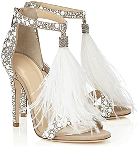YFF Mme Sandals Chaussures Mariage Talons T-Drill Planche Couleur Pure Feather,43,Off-blanc