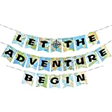 WERNNSAI Bon Voyage Party Decorations - World Map Pennant Let The Adventure Begin Bunting Banner for Retirement Graduation Travel Themed Party Co-worker Moving Away Baby Shower Birthday Party Supplies