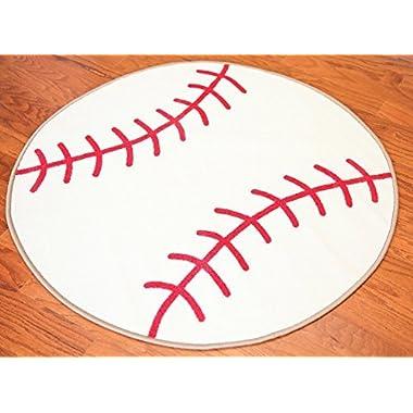 Furnishmyplace Baseball Kids Rug, Round
