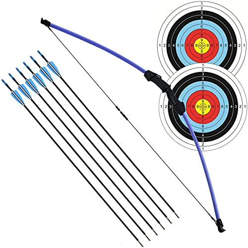 FUNTRESS アーチェリーセット 初心者なリカーブボウ 子供向け伝統的な弓道専用道具 右左手兼用の練習弓 取り外し可能 ティーンエイジャーのプレゼント 矢6本とターゲット紙2枚付属