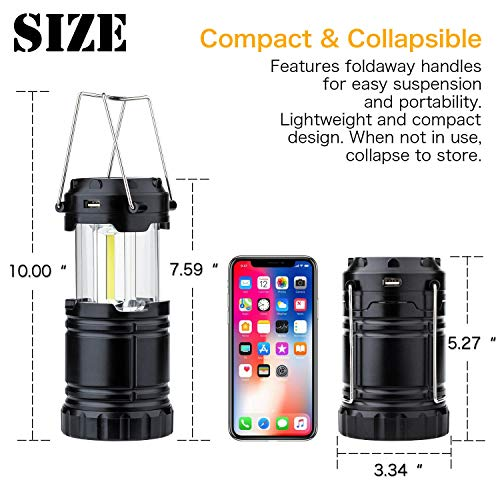 4 Pack Solar USB Rechargeable 3 AA Power Brightest COB LED Camping Lantern with Magnetic Base, Charging for Android, Waterproof Collapsible Emergency LED Light