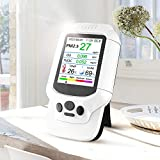 Air Quality Monitor- Formaldehyde Detector, Ozone Concentration,Temperature & Humidity Meter, TVOC/Organic Particulate Matter, AQI/Air Quality Index Pollution, Household Portable (White-3)