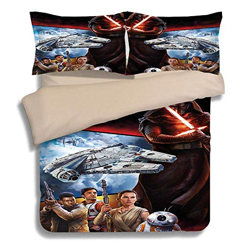 917 Duvet Cover Sets 3D Star Wars Printing 3 Piece Set Bedding 100% Microfiber For Gifts (1 Duvet Cover + 2 Pillowcases) E-Twin(172x218cm)