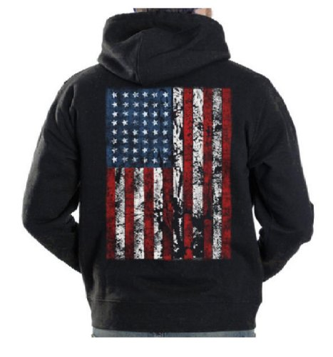 American Flag Mens Hooded Sweatshirt United States USA Tattered Flag Hoodie, Black, X-Large