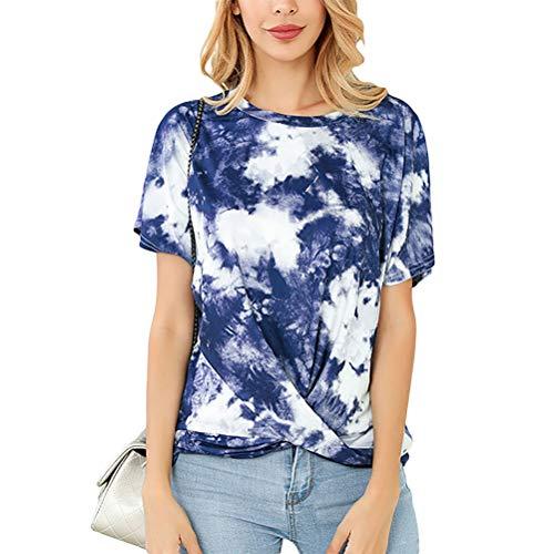 Hihey Tie-Dye T-shirt, korte mouwen, ronde hals, stretch tuniek X-Large donkerblauw