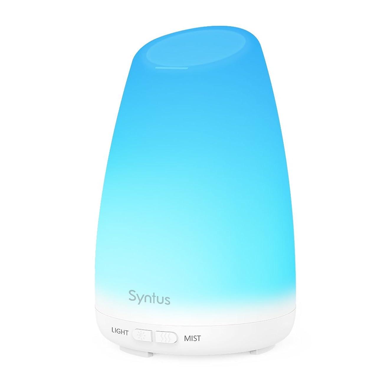タイプライターパラシュート本能Syntus 150ml エッセンシャルオイルディフューザー ポータブル超音波式アロマセラピーディフューザー 7色に変わるLEDライト 変更可能なミストモード 水切れ自動停止機能