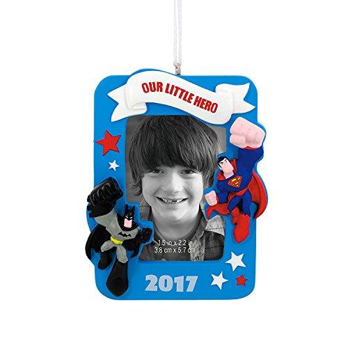 Hallmark 2017 Batman Superman Photo Holder Picture Frame Christmas Tree Ornament