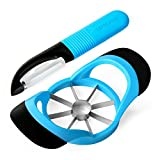 LEMCASE Apple Slicer Cutter Corer and Peeler for Fruit Vegetable - Silicone Handle and Stainless Steel Blades| Blue (2 Pieces Set)