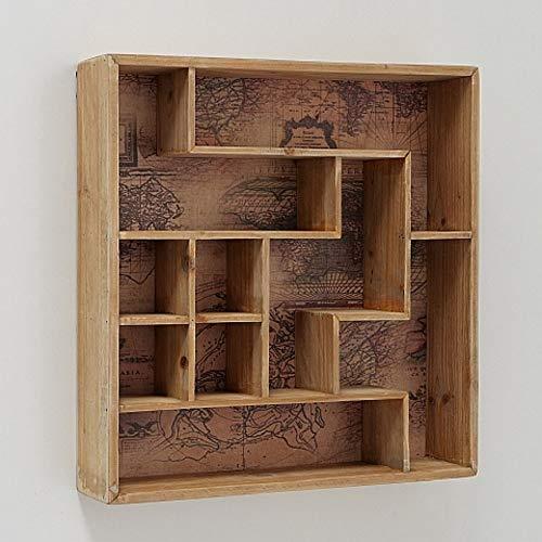 CasaJame Holz Wandobjekt Setzkasten mit Weltkarten Hintergrund 45x45x8cm