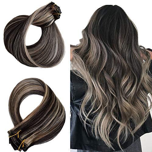 Clip in Haarverlängerungen Set Echthaarverlängerungen Remy Hair Balayage Clip in Extensions Schwarzes Highlight Dunkelblonde Haarverlängerungen Natürliche Haarverlängerungen Echte Haarverlängerungen