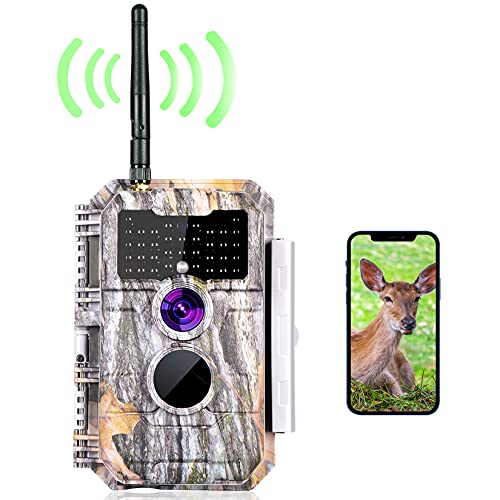 Bluetooth Wireless WiFi Game Trail Deer Camera 24MP 1296P MP4 Video Night Vision No Glow Motion Activated Waterproof for Wildlife Hunting & Home Security, Send Pictures to Cell Phone via App Operated