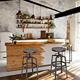 Homy Casa Juego de 2 taburetes de bar, estilo industrial, estilo vintage, parte superior de MDF y estructura de metal, silla de desayuno ajustable