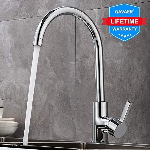 GAVAER Wasserhahn Küche, 360° Schwenkbarer Küchenarmatur, Einhebel Mischbatterien (Warmes und Kaltes Wasser zur Verfügung), Messing Verchromt.