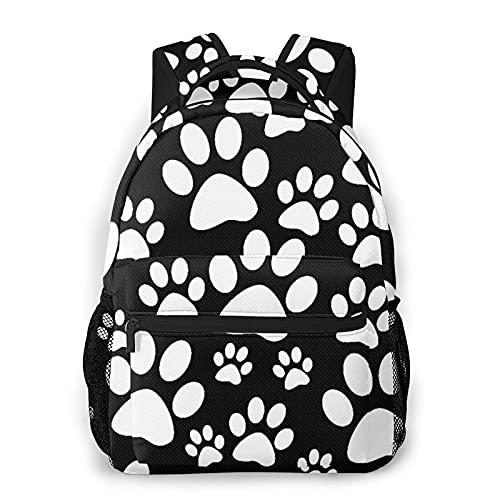 MEJX Mochila Paquete de Almacenamiento,Pata de perro blanco y negro imprime patrón de mosaico,Casual Bolsa de Estudiantes de la Escuela Mochila Portátil de Viaje