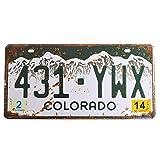 Retro Vintage U.S. State Auto Number Tags, Embossed Prop Vanity License Plate, 12'x6' (Colorado)