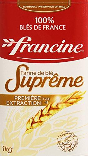 Francine Farine de blé Suprême, type 45, première extraction, 100 % blés de France - La boîte de 1kg
