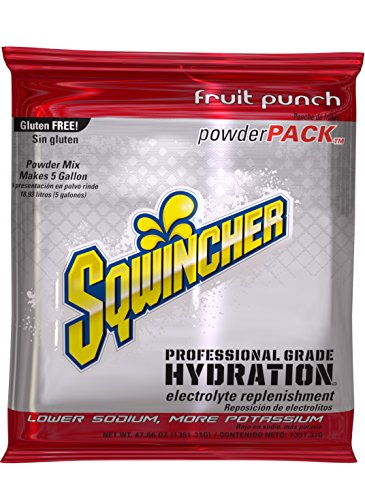 Sqwincher Powder Pack, Fruit Punch Flavor Electrolyte Drink Concentrate, 47.66 oz Packet (Pack of 16)